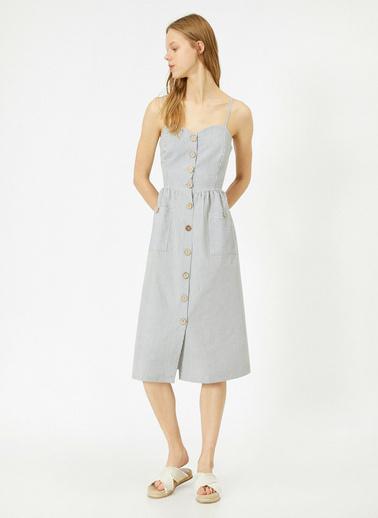 Koton Düğme Detaylı Elbise Gri